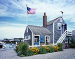 "Wharf House ""Nautilus"" with Flowers and Flag, Old North Wharf, Nantucket Island, Nantucket, MA"