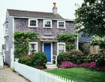"Wharf House ""Omega"" with Flowers and White Picket Fence, Old North Wharf, Nantucket Island, Nantucket, MA"