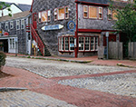 Cobblestone Streets with Brick Walkways in Downtown Nantucket with Store Buildings in Background, Nantucket Island, Nantucket, MA