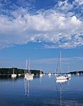 Boats in Calm Waters of Lake Tashmoo, Vineyard Haven, Martha's Vineyard,  Tisbury, MA