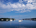 Boats in Calm Waters of Lake Tashmoo, Vineyard Haven, Martha's Vineyard,  Tisbury, MA