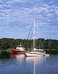 Motor Cruiser and Cutter-rigged Sailboat in Lake Tashmoo, Vineyard Haven, Martha's Vineyard, Tisbury, MA