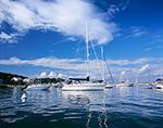 Boats in Oak Bluffs Harbor under Blue Skies and White Puffy Cumulus Clouds, Martha's Vineyard, Oak Bluffs, MA