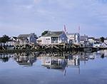 View of Wharf Houses Reflecting in Water, Old North Wharf, Nantucket Harbor, Nantucket Island, Nantucket, MA