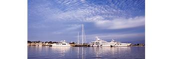 Cruise Ships and Sailboat with Reflections along Nantucket Waterfront, Nantucket Harbor, Nantucket Island, Nantucket, MA