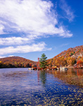 Hogencamp Mountain and Little Long Pond with Lily Pads in Fall, Harriman State Park, Orange County, NY
