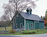 Green Barn with Cupola and Daisies and Split-rail Fence, Peru, VT