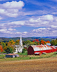 White Church and Steeple with Big Red Barn and Plowed Cornfield in Fall, Peacham, VT