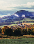 Rural Vermont Countryside in Early Morning Light with Ground Fog in Early Fall, Peacham, VT