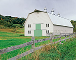 Big Barn with Green Doors and Split-rail Fence at Hogwash Farm in Late Summer, Norwich, VT