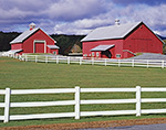 Red Horse Barns with White Fence in Late Summer at Cedar Grove Farm, Peacham, VT