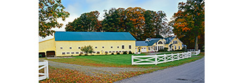 Big Yellow Barn and Farmhouse with White Fence at Brigadoon Farm in Early Fall, Peacham, VT