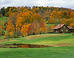 Vermont Rural Landscape in Fall with Log Cabin, Fields and Pond, West Windsor, VT