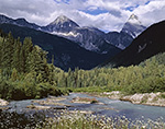Illecillewaet River and Colombia Mountains, Glacier National Park,  British Columbia, Canada