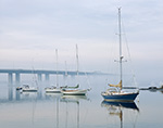 Sailboats at Moorings in Fog on Connecticut River with Route 95 Bridge in Background, Old Lyme Marina, Old Lyme, CT