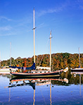 Early Morning Light on Wooden Schooner at Mooring with Reflections in Hamburg Cove in Fall, Eightmile River, Popular Boating Spot on the Connecticut River, Lyme, CT