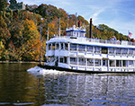 """Tour Boat """"Becky Thatcher"""" in Fall on the Connecticut River near Gillette Castle, East Haddam and Lyme, CT"""