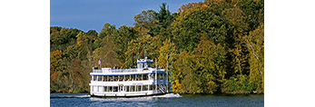 """Tour Boat """"Becky Thatcher"""" in Fall on the Connecticut River,  Deep River, CT"""