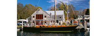 "Cove Landing with Wooden Sailboat ""Duster"" at Dock in Front, Eightmile River off Connecticut River, Lyme, CT"