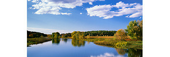 Cumulus Clouds and Blue Sky with Reflections in Sudbury River in Fall, Great Meadows National Wildlife Refuge, Sudbury and Wayland Town Line, MA