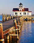Pier and Roanoke Marshes Lighthouse, Part of North Carolina Maritime Museum, Roanoke Island Festival Park, Outer Banks, Manteo, NC