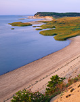 View from Cliff to Beach and Salt Marsh on Great Island, Cape Cod National Seashore, Cape Cod, Wellfleet, MA