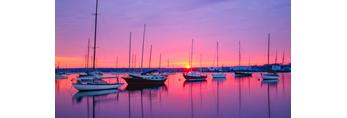 Sunrise over Boats in Vineyard Haven Harbor, Martha's Vineyard, Tisbury, MA