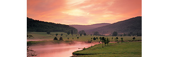 Quaker Lake, Mouth of Quaker Run, and Fields in Pre-dawn Light,  Allegany State Park, NY