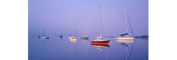 Sailboats in Fog with Clear Reflections in Glass-like Water, Connecticut River, Old Lyme, CT