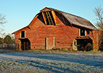 Early Morning Light on Old Red Barn, Lonoke County, AR