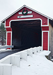 Slate Bridge (2001) with Holiday Wreath, Red Covered Bridge over Ashuelot River, Swanzey, NH