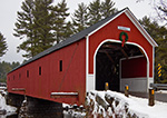 Cresson Bridge (1859) with Holiday Wreath, Red Covered Bridge over the Ashuelot River, Swanzey, NH