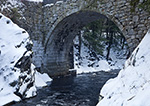 Gilsum Stone Arch Bridge in Winter, over the Ashuelot River, National Register of HIstoric Places, Gilsum, NH