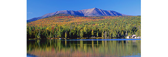 Clear Skies over Mt. Katahdin and Round Pond in Fall with Knife's Edge, Baxter State Park, ME