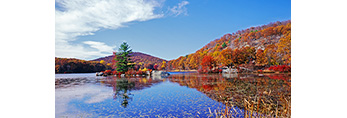 Little Long Pond with Lily Pads in Fall, Harriman State Park,  Orange County, NY