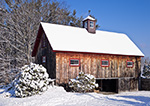 Barn with Natural Wood Siding in Winter, Fitzwilliam, NH