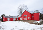 Red Barns with Silo in Winter, Granby, MA