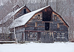 Old Wooden Barn with Falling Snow, Village of Saxtons River,  Rockingham, VT