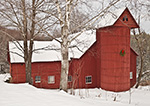 Red Barn and Silo with Hoiday Wreath in Winter, Weathersfield, VT