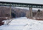 Frozen Williams River with Rt. 91 Bridge in Winter, Rockingham, VT