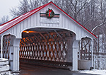 Ashuelot Covered Bridge over Ashuelot River in Winter with Holiday Wreath, Built in 1864, Village of Ashuelot, Winchester, NH