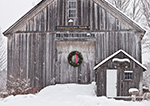 Old Wooden Barn with Holiday Wreath and Falling Snow, Royalston, MA