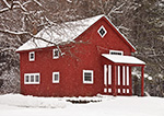 Red Barn with White Trim with Falling Snow, New Salem, MA