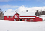 Red Horse Barn with White Trim in Winter, Jamaica, VT