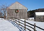 Holiday Wreath on Barn after Snowstorm with Split-rail Fence, Marlboro, VT