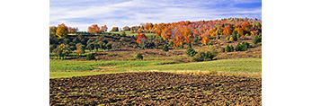 Newly-plowed Field and Vermont Farmland with Fall Foliage,  Wilmington, VT