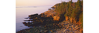 Early Morning Light on Cobblestones, View from Ocean Drive to Otter Cliffs, Acadia National Park, Mt. Desert Island, ME
