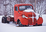 Old Red Dodge Truck after Fresh Snowfall, Wilmington, VT