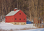 Red Barn with Stone Foundation in Winter, Dummerston, VT