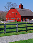 Red Barn and Grey Fences at Gypsy Woods Farm, North Stonington, CT